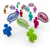 Diverse People Saying Hello Greeting in Speech Bubbles