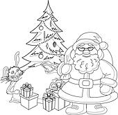 Santa Claus with a Christmas tree, contours