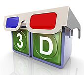 3d glasses with 3d text