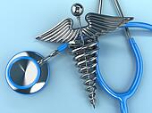 Stethoscope with caduceus symbol. 3d