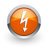 bolt orange glossy web icon