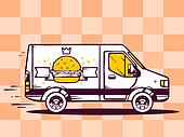 illustration of van free and fast delivering burger with