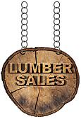 Lumber Sales Wooden Sign with Metal Chain
