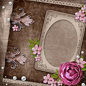 Vintage elegant frame with rose