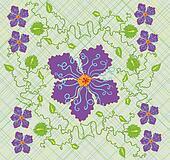 Big purple flower and green vines