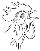 Sketch of a Crowing Rooster