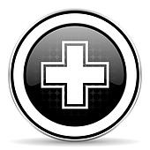 pharmacy icon, black chrome button