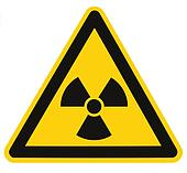 Radiation hazard symbol sign of radhaz threat alert icon, isolated black yellow triangle signage macro