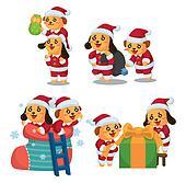 cute cartoon Christmas Holiday,animal  santa,