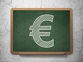 Currency concept: Euro on chalkboard background