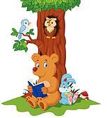 Cute animals cartoon reading book