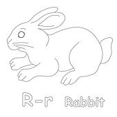R for Rabbit Coloring Page