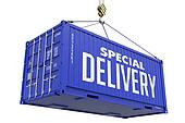 Special Delivery -Blue Hanging Cargo Container.