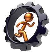 Man character hard work running gearwheel business icon