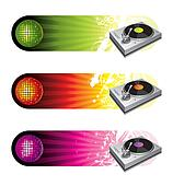 Musical vector banners with turntable & mirror ball