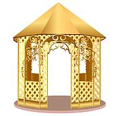 summerhouse with winding ornament with flower
