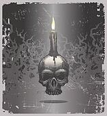 Halloween vector illustration with hand drawn skull and candle