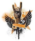 Grunge vector heraldic emblem with hand sign