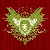 Vector Heraldic emblem with lion head