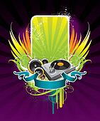 Vector illustration on a musical theme with turntable