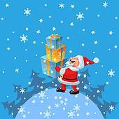 vector a happy Santa Claus brings of many gifts