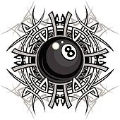 Billiards Eight Ball Tribal Graphic