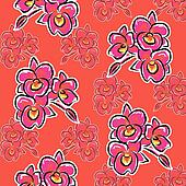 Illustration orchid flower pattern