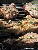 Barbecued steak and chicken on the grill
