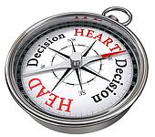 heart versus head decision concept compass