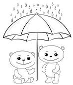 Teddy bears and umbrella, contours