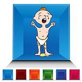 Leaking Wet Diaper Gemstone Button Set