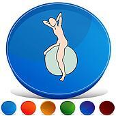 Exercise Ball Gemstone Button Set