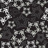 Seamless pattern with stars, floral background.