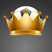 Background of Soccer ball with royal crown