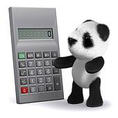 3d Panda bear calculates