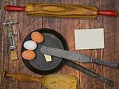 vintage utensils set and skillet