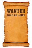 Wanted poster on parchment