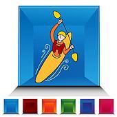 Rowing Kayak Man Gemstone Button Set