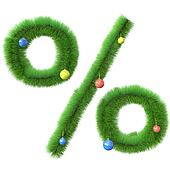 Percent symbol made of christmas tree branches