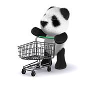 3d Baby panda bear goes shopping