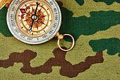 Compass on a camouflage background