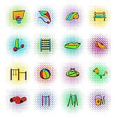 Park playground icons set
