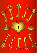 set key and heart on red