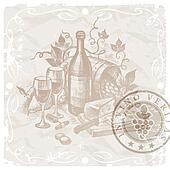 Vintage still life - wine and food