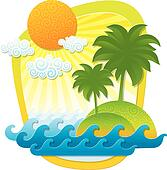 Vector illustration with tropical landscape - imitation of applique from color paper shapes