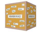 Minimum Wage 3D cube Corkboard Word Concept