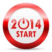 year 2014 glossy web icon