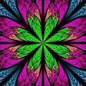 Symmetrical pattern in stained-glass window style. Blue, purple