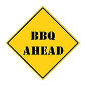 Yellow BBQ Ahead Road Sign