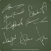 Signature writing signs set